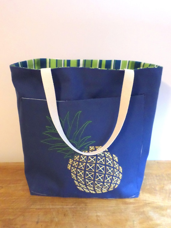 Pineapple Tote Bag / Hand Embroidered Purse / Blue Cotton Duck Canvas Tote / Unique Handmade Zip Beach Bag / Made in Maine / Large Tote Bag