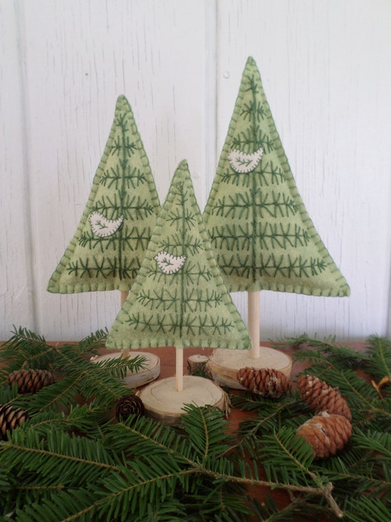 Maine Balsam Fir Hand Embroidered Felt Tabletop Tree Sculpture in Green, Made in Maine 2021