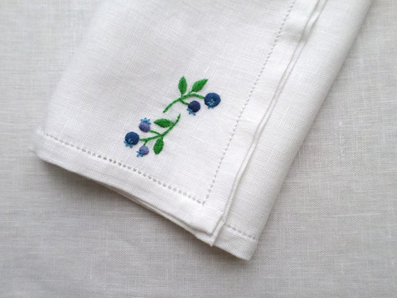 Hand Embroidered Linen Napkins, Set of 4, Wild Maine Blueberry Design, Made in Maine