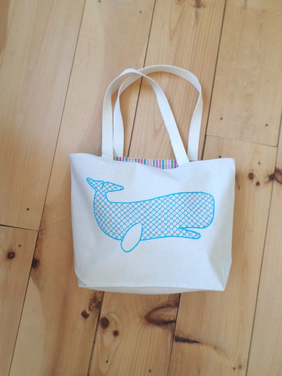 Whale Tote Bag / Hand Embroidered Purse / Cotton Duck Canvas / Unique Handmade Bag / Made in Maine