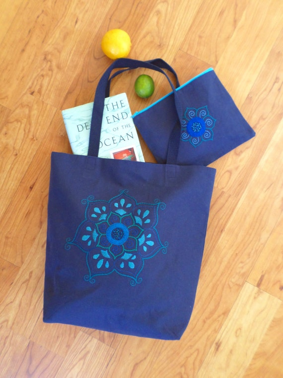 Lotus Flower Mandala Tote Bag Set / Hand Embroidered Book Bag / Matching Clutch Purse / Pencil Case / Handmade Unique Handbag Made in Maine