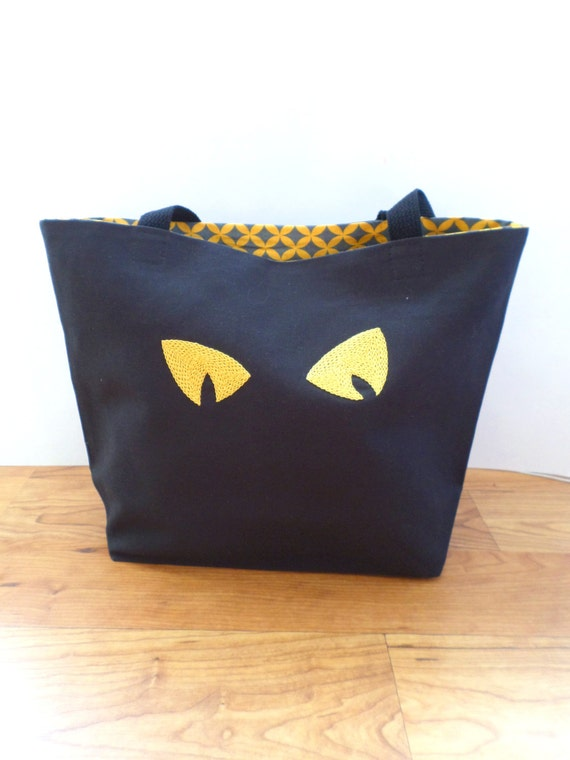 Halloween Trick or Treat Bag / Scary Cat's Eyes Tote Bag / Hand Embroidered Purse / Black Canvas Handbag