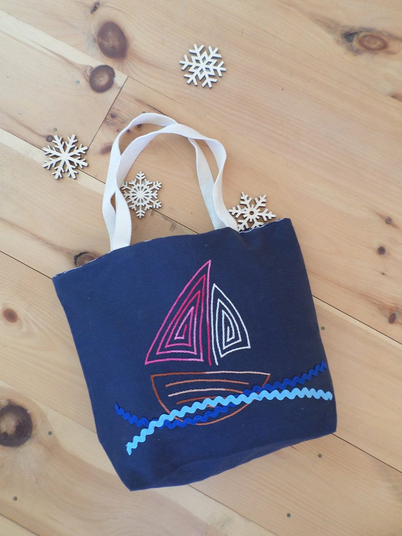 Sail Boat Tote Bag  Hand Embroidered Purse  Navy Blue Cotton Duck Canvas  Unique Canvas Tote Bag  Made in Maine