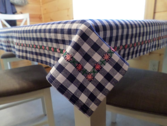 Hand Embroidered Gingham Tablecloth, Eight Point Star, Scandinavian Design, Swedish Folk StyleTablecloth , Made in Maine