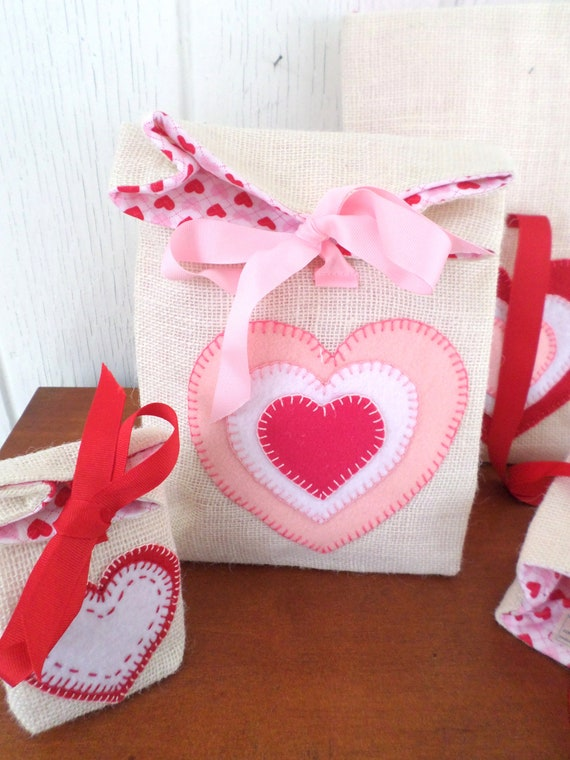 Hand Embroidered Burlap & Felt Reuseable Gift Bags - Watermelon, Valentine Hearts, Lady Bugs