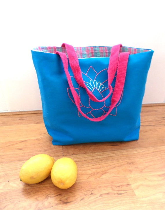 Lotus Flower Tote Bag / Hand Embroidered Purse / Blue / Cotton Duck Canvas / Fuchsia Pink / Yoga / Unique Handmade Handbag / Made in Maine