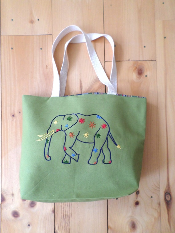 Elephant Tote Bag / Hand Embroidered Purse / Cotton Duck Canvas / Unique Handmade Bag / Made in Maine