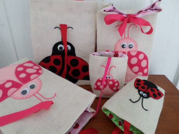 Lady Bug Gift Bag , Hand Embroidered Burlap & Felt