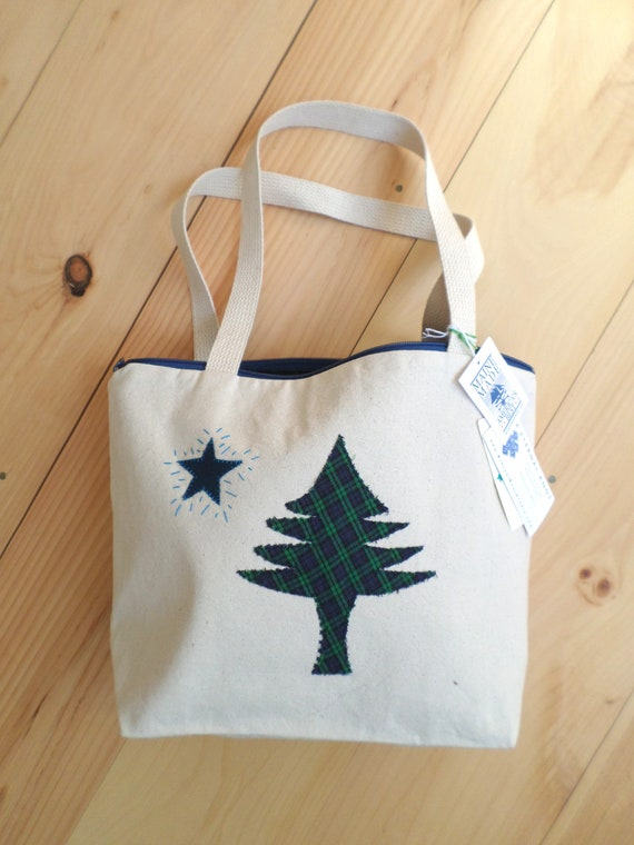 SMALL Original Maine Flag Tote Bag / 1901 Maine Flag Tote / Hand Embroidered Purse / Cotton Duck Canvas / Unique Handmade / Made in Maine