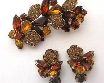 Weiss Vintage Amber Orange Brown Rhinestone Brooch and Earrings set Jewelry amber orange gold