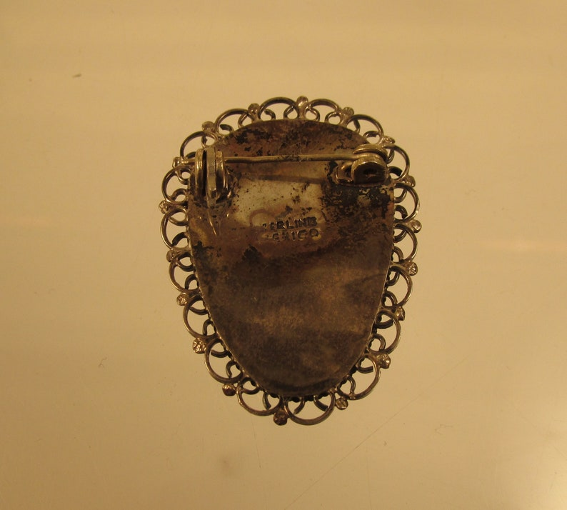 Onyx and Sterling Broach Mexico  @ A Village Coin Bullion 514 B
