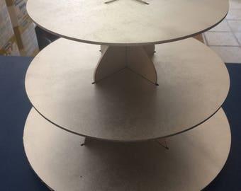 Economy cupcake stand, 36 cupcakes capacity, made of MDF wood, round shape.
