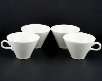 Coffee Latte White Conical Shaped Porcelain Cups Mugs Set of 4 by EraCetera