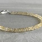 Genuine Citrine Bracelet   Faceted Gemstone Jewelry for Women, Men   November Birthstone Gift   Minimalist Citrine Jewelry
