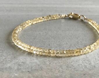 Citrine Bracelet / Gold or Silver Clasp / November Birthstone Citrine Jewelry / Yellow Gemstone Bracelet for Women, Men