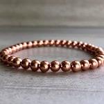 Copper Beaded Bracelet | Stretch Bracelet for Women, Men | Pure Copper Jewelry | Metal Ball Bead Bracelet
