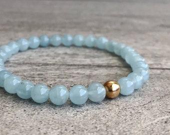 Genuine Aquamarine Bracelet   Silver or Gold Beaded Bracelet for Women, Men   March Birthstone Jewelry   Blue Semi Precious Stones