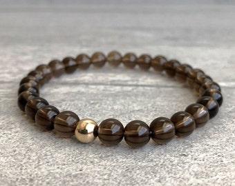 Beaded Stretch Bracelet for Men, Women   Smoky Quartz Jewelry   Healing Crystal Bracelet   14 Gold Filled Mala Bead Stone Bracelet