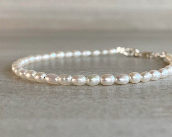 Tiny Pearl Bracelet | White Freshwater Pearl Jewelry | 5 6 7 8 9 Inch Size | Gold or Sterling Silver Clasp | Delicate Dainty Jewelry