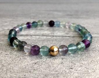 "Rainbow Fluorite Bracelet   Natural Fluorite Jewelry with Purple & Green Stones   6"" 7"" 8"" 9"" Silver or Gold Bead Stretch Bracelet  "
