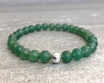 Green Aventurine Bracelet   Stackable Bracelet for Women, Men   Natural Stone Jewelry   Sterling Silver Beaded Crystal Stretch Bracelet