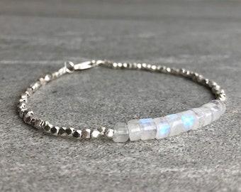 Rainbow Moonstone Bracelet   Natural Crystal Jewelry   Hill Tribe Silver Tiny Bead Bracelet   Dainty Genuine Moonstone Jewelry