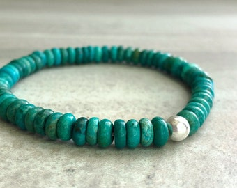 Genuine Turquoise Bead Bracelet    Stretch Mala Beads for Women, Men   Real Turquoise Crystal Jewelry    5 6 7 8 9 Inch Size