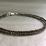 Double Wrap Bracelet | Tiny Bead Bracelet | Natural Pyrite Jewelry for Women, Men | Round Faceted Gemstones