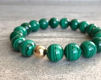 Green Malachite Bracelet   Natural Stone Large Bead Bracelet   Malachite Jewelry for Women, Men   Healing Crystal Mala Beads