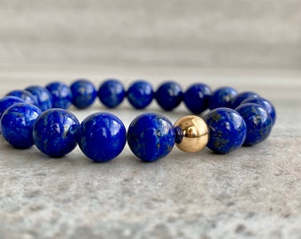 Lapis Lazuli Mala Beads | Healing Crystals for Intuition, Strength | Blue Lapis Lazuli Stretch Bracelet for Women, Men | 6 7 8 9 Inch Size