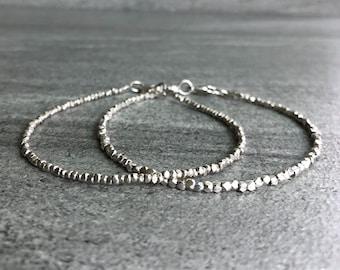 Sterling Silver Bracelet | Tiny Bead Hill Tribe Silver Jewelry | Delicate Dainty Custom Bracelet Stack | Minimalist Everyday Bracelet