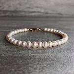 Genuine Pearl Bracelet | Sterling Silver or Gold Clasp Bead Bracelet | Real Freshwater Pearl Jewelry | June Birthstone Gift