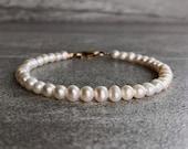 Genuine Pearl Bracelet Sterling Silver or Gold Clasp Bead Bracelet Real Freshwater Pearl Jewelry June Birthstone Gift