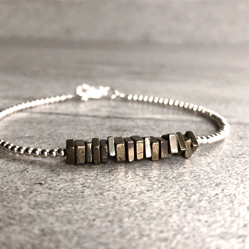 Pyrite Bracelet  Beaded Bracelet for Women Men  Pyrite image 0