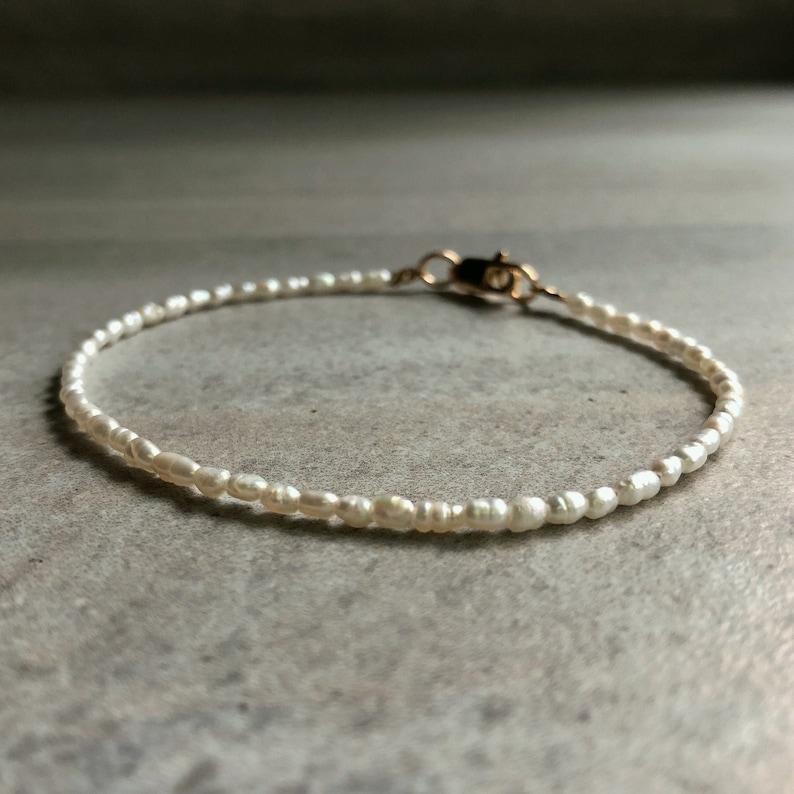 Modern Pearl Jewelry  Seed Pearl Bracelet  Tiny Pearl image 0