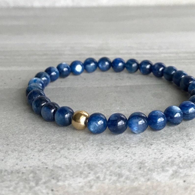 Blue Kyanite Bracelet  Semi Precious Stone Jewelry  14K Gold image 0