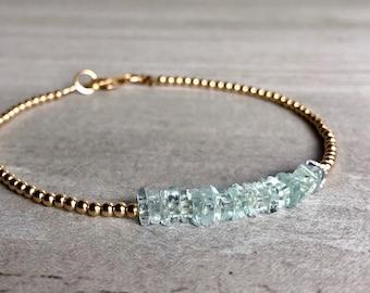 Aquamarine Bracelet | March Birthstone Jewelry | 6 7 8 9 inch Custom Size Bracelet | Sterling Silver or Gold Tiny Bead Bracelet |