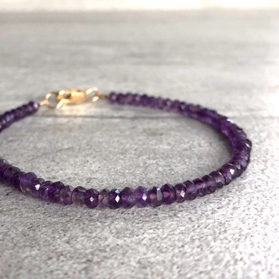 Natural Faceted Precious Gemstone Bracelet With 14k Gold Over Beads /& Clasp 7.5/'