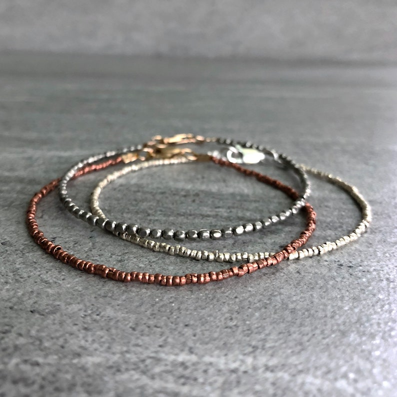 Tiny Bead Bracelet  Handcrafted African Bead Jewelry  Silver image 0