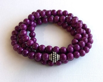 Purple Mala Beads Bracelet, 108 Mala Jewelry, Sterling Silver Multiwrap Bracelet or Long Necklace, Round Riverstone Meditation Yoga Jewelry