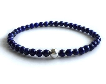 Genuine Lapis Lazuli Bracelet   Gold or Sterling Silver Minimalist Jewelry   Cobalt Royal Blue Gemstone Bead Stretch Bracelet