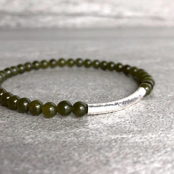 Genuine Green Jade and 14k Gold-Plated Beaded Stretch Bracelet 7/""
