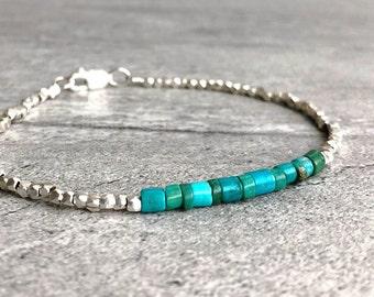 Real Turquoise Bracelet | Tiny Bead Bracelet | Sterling Silver Turquoise Crystal Jewelry | Men's, Women's Custom Size Stacking Bracelet