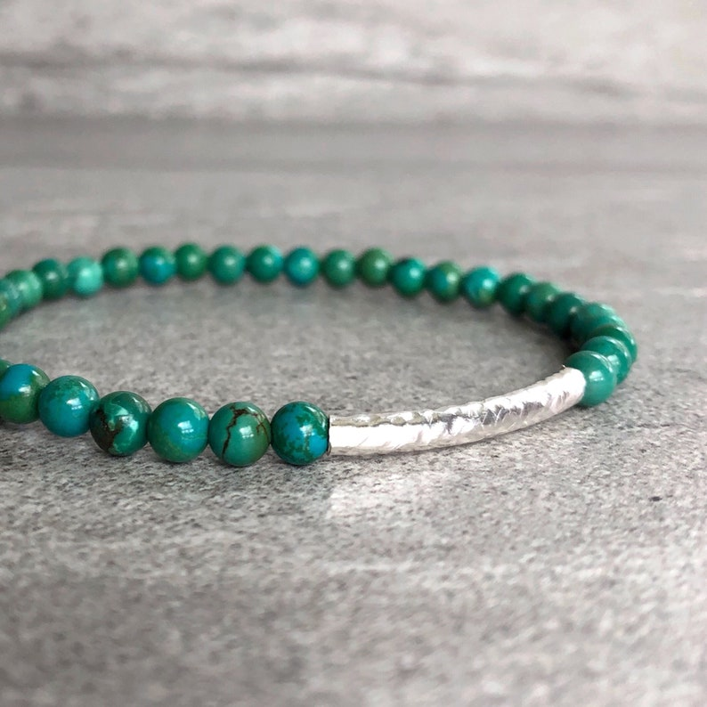 Real Turquoise Bead Bracelet  Gold or Sterling Silver Stretch image 0