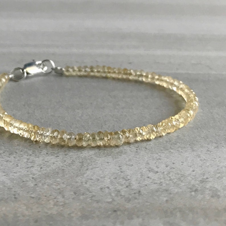 Genuine Citrine Bracelet  Faceted Gemstone Jewelry for Women image 0