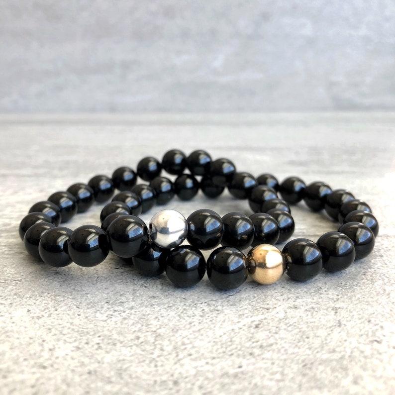 Gold or Silver Stretch Bracelet for Men Women Genuine Tourmaline Jewelry Bead Stack Bracelet Black Tourmaline Bracelet