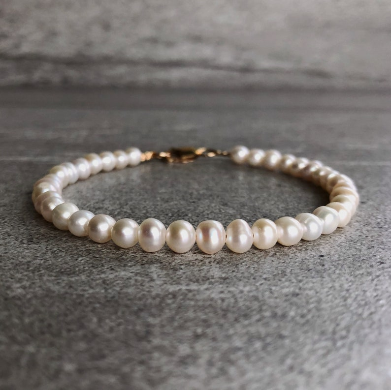 Genuine Pearl Bracelet  Sterling Silver or Gold Clasp Bead image 0