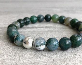 Moss Agate Bracelet   Natural Crystal Jewelry   Women's, Men's Stretch Bracelet   Custom Size Green Bead Bracelet for Small or Large Wrists
