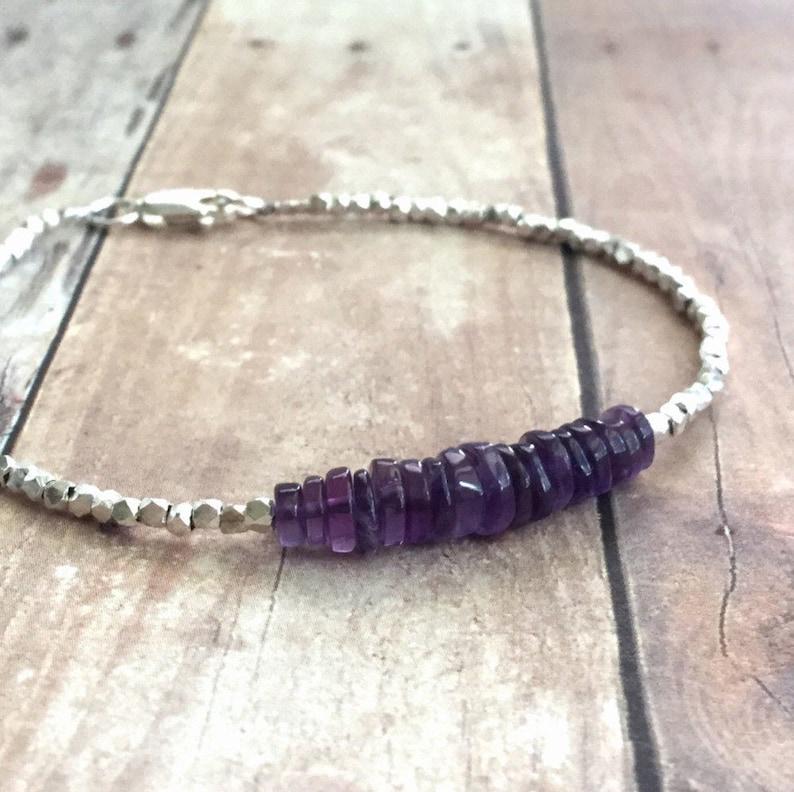 Amethyst Bracelet Hill Tribe Silver Bead Jewelry Purple image 0