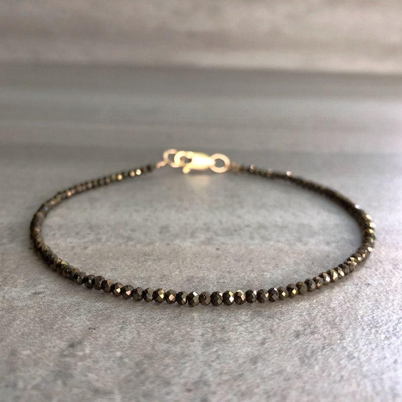Pyrite Bracelet  Tiny Bead Bracelet for Women Men  Natural image 0